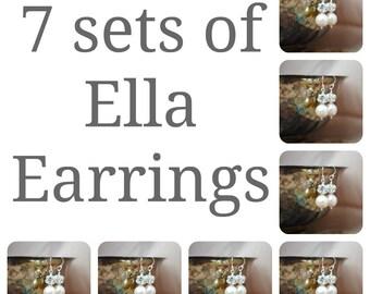 7 séries de boucles d'oreilles de demoiselles d'honneur, sept Swarovski Perle strass Ball Drop Earrings, cadeaux de fête nuptiale, mariage boucles d'oreilles, boucles d'oreilles de mariée