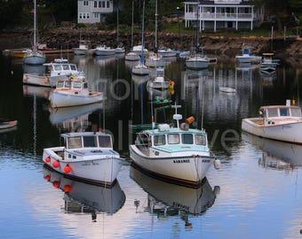 Sailboat 8 x 10 Photography print,  Perkins Cove Harbor, Motorboats prints, Ogunquit Maine, Boat Reflection in ocean, fine art print
