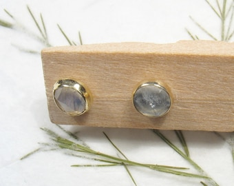 5 mm rose cut Moonstone , solid 9k yellow gold studs earrings, Mother day earrings