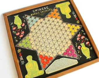 Vintage Chinese Checkers Game Board Asian Oriental Wall Decor Whitman