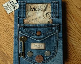 Handmade Journal MUSIC Speaks To Me - Notebook - Diary - Sketchbook - Rustic - Vintage - Classic Designed