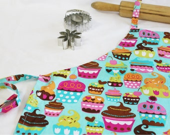 Sweet Cupcakes Adult Apron - teal