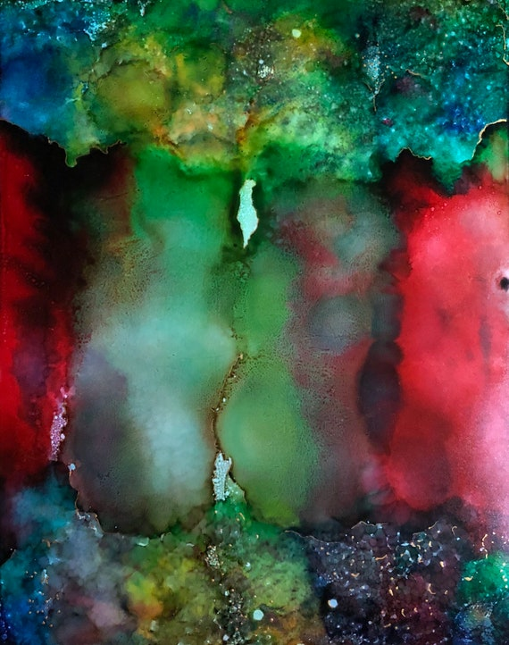 """Original Alcohol Ink Abstract Painting: """"No Weeds Growing Under My Feet"""" (11"""" X 14"""")"""