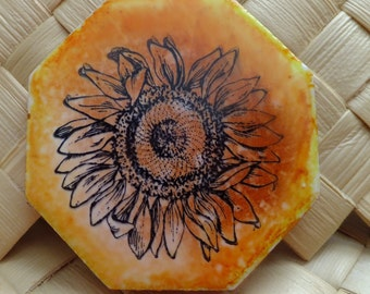 Ceramic Tile Magnet.  With hand stamped painted , With a Sunflower