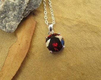 Garnet pendant garnet necklace garnet sterling silver necklace 4ct garnet sterling silver jewelry 925 January birthstone.