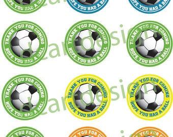 Soccer Favor Bag Stickers. Soccer Thank You Stickers