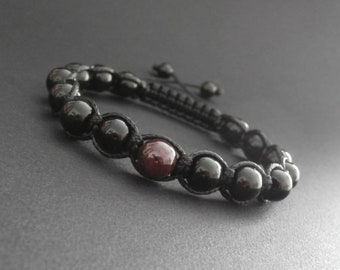 Bracelet shamballa men natural Onyx and Garnet stones