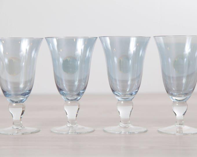 4 Blue Wine Glasses - Large 12 Fluid Ounces Iridescent Vintage Stemware - Barware Glassware