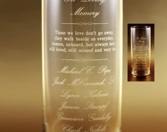 MEMORIAL CANDLE VASE - Floating Candle in a Custom Engraved Glass Vase - A personal touch, in memory of your loved ones.
