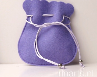 Drawstring bag / drawstring pouch / drawstring purse in lilac / bright violet pure wool felt. Gift under 10.