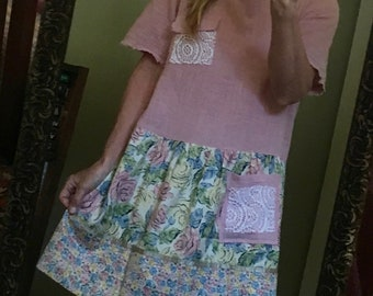 Upcycled Recycled Repurposed Altered Dress LG
