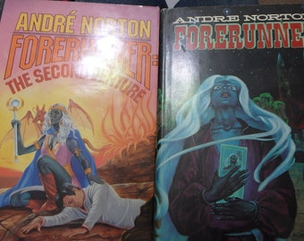 2 Andre Norton sci-fi novels with DJ's= Forerunner 1981 1st and the Second adventure 1985