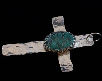 American Turquoise in Hammered Sterling Silver Rustic Rugged Cross Pendant