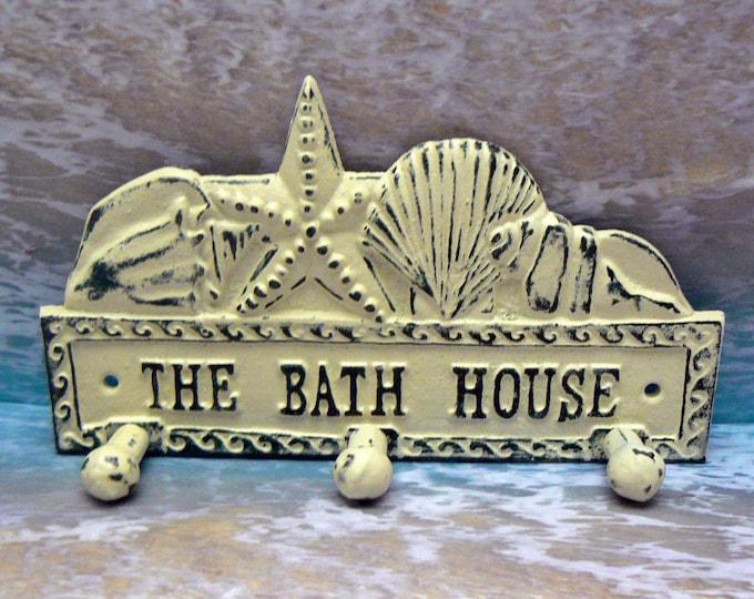 The Bath House Cast Iron Wall Hook Starfish Sea Shell Shabby Chic Cottage Chic Off Beach House Home Decor