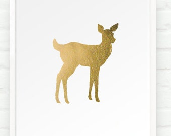 Fawn in Metallic Gold - 8x10 Hand Gilded Baby Deer Silhouette Print - Decor for Kids Room Nursery Boho Chic