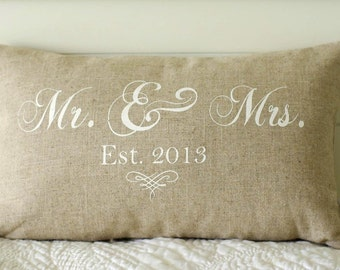 Mr. and Mrs. Pillow Cover,  Wedding, 12x20 lumbar, choice of black or vintage white writing or custom color, Established date
