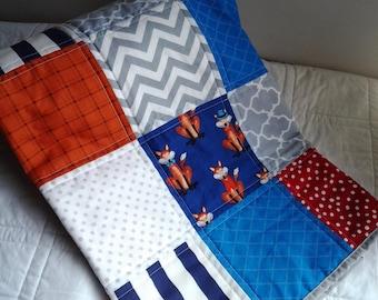 Little Gentleman Fox Baby Quilt, Fox Nursery Bedding, Fox Baby Blanket, Patchwork Baby Quilt, Modern Nursery Quilt