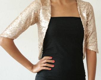 Simple Sequin Bolero // Gold Bridal Bolero // Sequin Bridal Shrug // Bridesmaids Coverup // Wedding Bolero // Evening Jacket // Gold Sequins