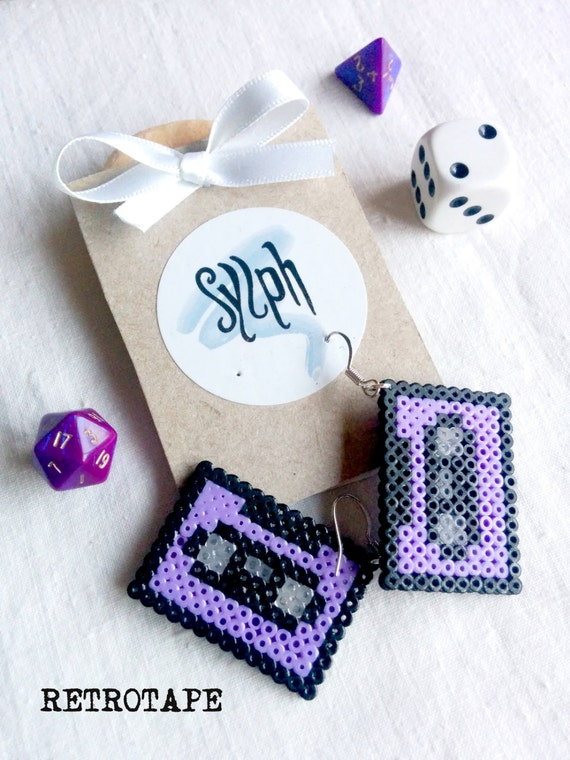 Pixelated lavender purple geeky Retrotape cassette earrings made of Hama Mini Beads made with love for pixel-perfect music lovers