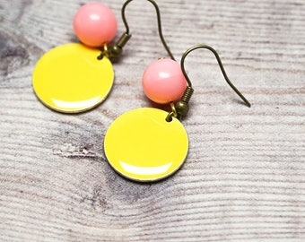 Color Pop Earrings -- Bright & Quirky Pop Art Charms -- Yellow Enamel Circles and Pink Bead Drops -- Brass Hooks