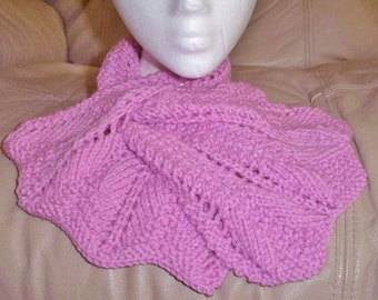 Adult Rosy Pink Knitted Keyhole Neck Wrap