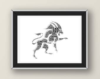 Leo Zodiac Sign Word Art Digital Print