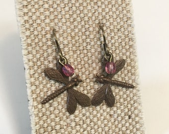 Natural Brass Dragonfly and Crystal Drop Earrings