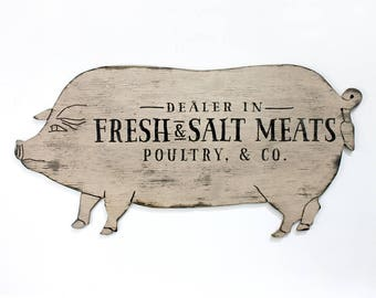 Historic Butcher Sign Pig Wall Art farmhouse decor pig wall decor kitchen decor farmhouse kitchen rustic restaurant sign wooden pig art