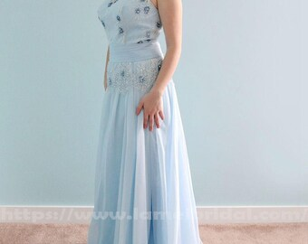 Illusion Neckline Water Blue Colour Lace Beach Wedding Dress, A-Line Party, Prom or Bridesmaid Dress