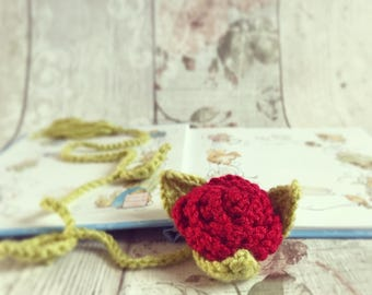 Beauty and the Beast Enchanted Red Rose Inspired Crochet Bookmark