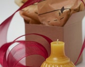 """Gift Wrapped - Beeswax Candle - antique bottle shaped - """"SWIRL INKWELL"""" - by Pollen Arts - Sm."""