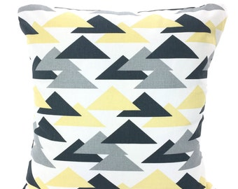 SALE Yellow Gray Pillow Covers, Decorative Throw Pillow, Cushions, Saffron Yellow Charcoal Grey Geometric, Couch Sofa One or More ALL SIZES