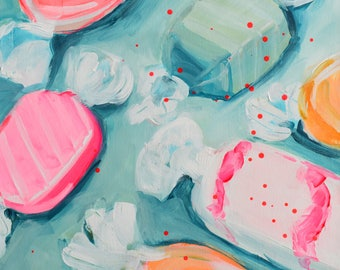 Taffy. Acrylic Painting. Modern Art. Contemporary Acrylic Painting. Food Art. Sweets. Candy. Pink. Green. Canvas Wall Art. Home Decor.