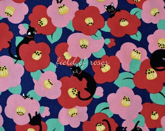 Japanese Fabric Cat Camellia by the Half Yard