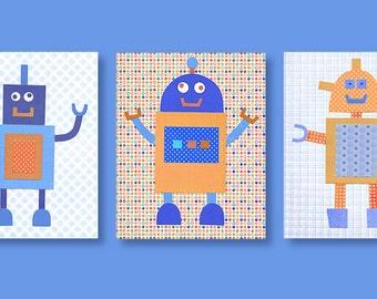 Robot Nursery Art, Baby Boy Prints, Blue and Orange Nursery, Boys Room Decor, Spaceman, Robot Canvas Decor, Boy Wall Art, Tech Nursery Decor