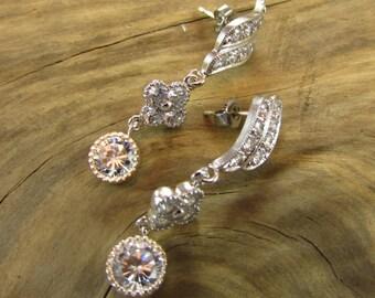 Cubic Zirconia Earrings, Post Earrings, Bride Earring, Bridal Earrings, Bridal Jewelry, Handmade, Hand Crafted