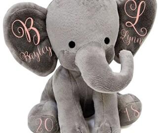 Personalized Stuffed Elephant*Baby Girl*Baby Boy*Baby Shower*Baby*Baby Elephant*Elephant Nursery*Custom Stuffed Animal*Elephant*Kids Room