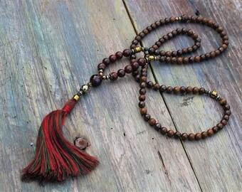 Long mala necklace, yoga gemstone jewelry, mala beads 108, spiritual necklace, buddhist necklace, prayer beads necklace, meditation jewelry