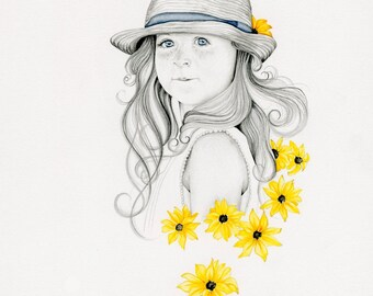 Custom Portrait Drawing Hand Drawn Portrait from your Photo Custom Drawing Daughter Portrait Baby Portrait Custom Personalized Portrait Art
