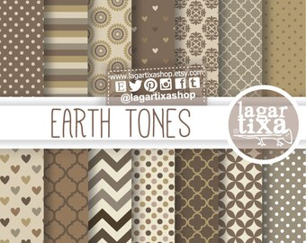 Earth Tones Neutral Beige Chocolate Brown Digital Paper Background Chevron dots Damask stripes patterns Scrapbook Blog invitations cards
