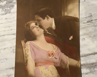 Vintage Postcard, Romantic French Postcard, Sweetheart French Vintage Postcards, Vintage Couple Postcard, Vintage Romance, French Lovers