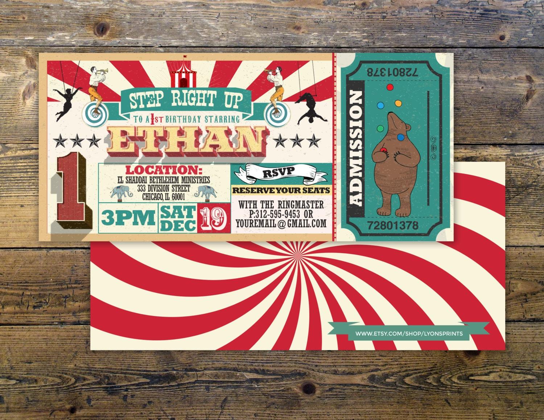 First Birthday- circus ticket-carnival ticket invitation - vintage ...