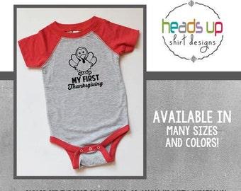 My 1st Thanksgiving Bodysuit - Baby Boy/Girl My First Thanksgiving Raglan - Turkey Bodysuit - Trendy Thanksgiving - Baby Gift - Holiday Gift