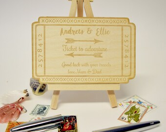 Personalised Ticket to Adventure Ticket - Bon Voyage Card - Travelling Card - Cards for Backpackers - Cards for Travellers