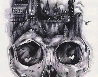 Big Gray Tones Skull Castle Temporary Tattoo - 3D Style Grayscale Skull Castle Temporary Tattoo Costume Accessories - Skull Temporary Tattoo