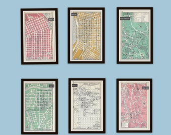 Vintage maps etsy any 3 city maps set of 3 1950s vintage maps mid century gumiabroncs Gallery