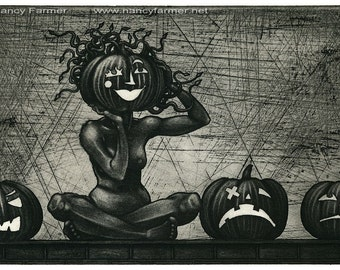 Original Etching: 'Medusa and the pumpkins' - a Halloween Medusa, from an edition of 22 prints.