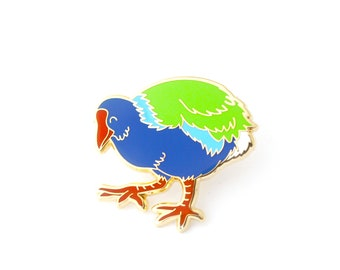 Takahē Enamel Pin (takahe pin new zealand lapel pin badge enamel jewelry cute bird jewelry endangered conservation cloisonne backpack pins)