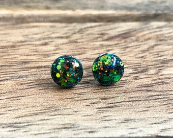 Chameleon Round Glitter Stud Earrings