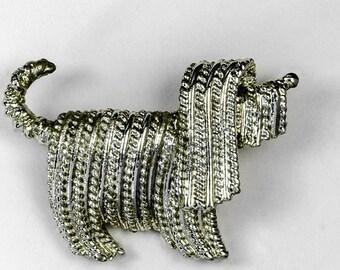 Vintage 1971 Sarah Coventry Tibetan Terrier or Komodor Glistening Rope Like Hair Shaggy Dog Gold-Tone Brooch Pin